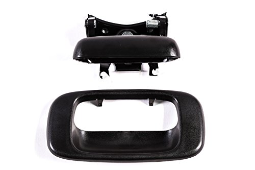 Tailgate Handle & Bezel Textured Black Rear Exterior Replacement for Chevy SIlverado GMC Sierra 1500 2500 3500 (1999 2000 2001 2002 2003 2004 2005 2006 2007 Classic) - Clips ()