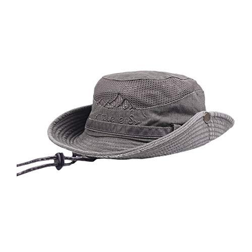 Farmerl Hat for Mens Cotton Visor Mesh Bucket Fisherman Hat Outdoor Climbing Cap Coffee