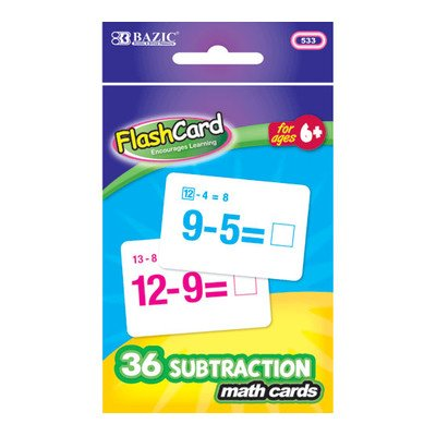 Subtraction Flash Cards Quantity: Case of 72