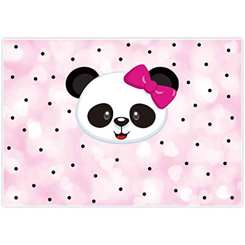 Allenjoy 7x5ft Pink Panda Backdrop for Baby Girl Shower Kids Baptism Christening Birthday Party Event Decorations Candy Table Decor Banner Background Photography Pictures Photo Booth Props