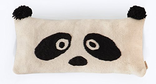 Panda - Embroidered Hand-Woven Wool Pillow Cover (Wool Panda)