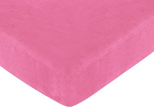 (Sweet Jojo Designs Cheetah Girl Fitted Crib Sheet for Baby and toddler Bedding Sets - Solid Pink)