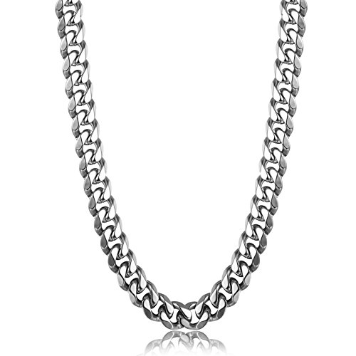 Thunaraz 9mm Stainless Steel Chain Necklace for Man Women Curb Link Chain 18Inches
