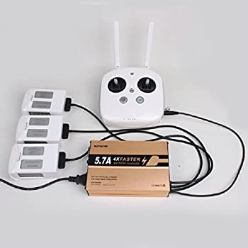 IRCtek 5.7A Rapid Charger for DJI Phantom 4 - 4 in 1 Quick Charge Multi-Battery Parallel Charger for DJI Phantom 4 /4 Pro /4 Pro+ Battery and Remote Controller