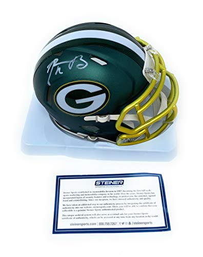 Rodgers Helmet Aaron - Aaron Rodgers Green Bay Packers Signed Autograph Blaze Speed Mini Helmet Steiner Sports Certified