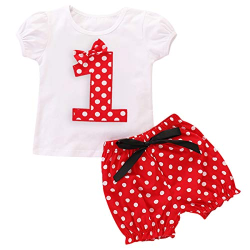 Toddler Baby Girls Princess Minnie Costume Polka Dot Printed First Birthday Party Cake Smash Clothes Set Cap Sleeve T-Shirt Top and Shorts Pants 2pcs Outfits Cotton Casual Playwear Red 1 - Dot Fabric Minnie