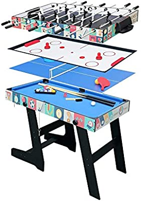 hj HLC® Mesa Multijuegos Plegable 4 en 1 Mesa de Billar,Ping Pong,Hockey y Futbolín (109 x 60,5 x 82 cm) Buen Regalo para Las Fiestas Juegos Entre Familia: Amazon.es: Juguetes y juegos