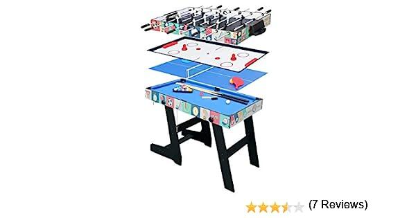 hj HLC® Mesa Multijuegos Plegable 4 en 1 Mesa de Billar,Ping Pong,Hockey y Futbolín (109 x 60,5 x 82 cm) Buen Regalo para Las Fiestas Juegos Entre Familia: Amazon.es ...