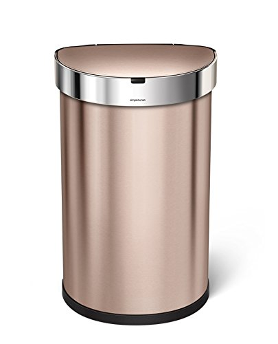 simplehuman 45L Semi-Round Sensor Can, Touchless Motion Sensor Garbage Bin, Rose Gold Stainless Steel, 45 L / 11.8 Gal by simplehuman
