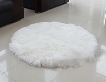 Lammfell Teppich 100% Echt Schaffell Fell Matte Dekoration Für Schlafzimmer  Wohnzimmer Couch Sofa Klein Rund