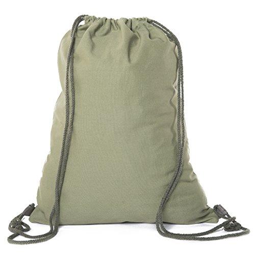 Multi-Purpose 100 % Cotton Canvas Drawstring Backpacks-Wholesale Heavy Duty Cotton Cinch Sacks -By Mato & Hash - Olive Drab CA2725 (Olive Drawstring)