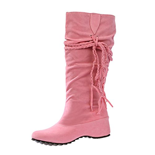 Xjp Women Faux Suede Wedge Heel Mid Calf Boots with Tassels Pink