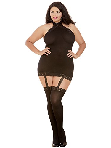 Dreamgirl Women's Plus Size Semi-Sheer Halter Garter Dress