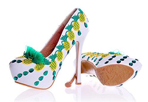 Pie Rhinestones Mujeres Dedo Zapatos Estilete Cerrado Alto Kitzen Bordados del De TacóN Novia Bombas Color De Boda Pointedred Vestido wfXnqO