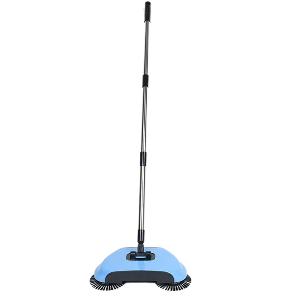 Lazy 3 in 1 Household Cleaning Hand Push Automatic Sweeper Broom – Including Broom & Dustpan & Trash Bin – Cleaner Without Electricity Environmental (Blue)