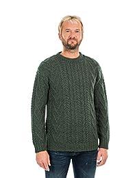 SAOL 100% Merino Wool Mens Traditional Aran Crew Neck Sweater
