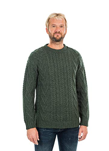 Mens Traditional Aran Crew Neck Sweater (Army Green, Large) ()