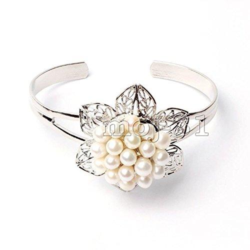 - Fashion Genuine White Freshwater Pearl Flower Shape Silver Cuff Bracelet Bangle