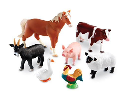 Learning Resources Jumbo Farm Animals I Horse, Pig, Cow, Goat, Sheep, Rooster, Goose, 7 Pieces