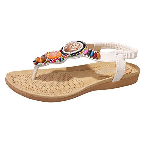Plat Clip Femmes Sandales Tongs Perle Toe White Sandales Chaussures Plage élastique Strap T Hope Strass Boho Été Bohême 1PBqwXXxf