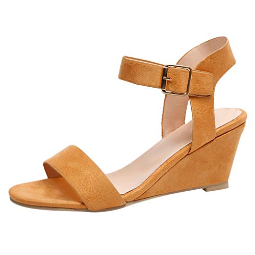 Aunimeifly Women's Ankle Buckle Sandals Plain Low Wedge Open Toes One Band Pumps Wild High-Heeled Shoes Brown