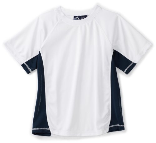 Kanu Surf Toddler Boys' Short Sleeve UPF 50+ Rashguard Swim Shirt, CB White, 5T