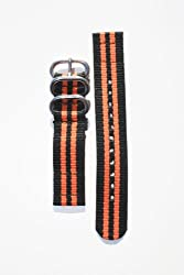 24mm Heavy Duty Black/Orange Military Style 2-PC Strap with Two S/S Rings and S/S Heavy Buckle. Great to Attach to Any Timepiece.