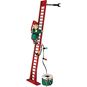 "Mr. Christmas 40"" Super Climbing Elf Red Green Ladder 91"