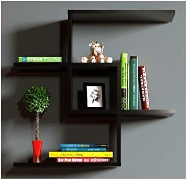 chain etagere murale etagere a livres pour decoration de salon en bois dans un design moderne noir