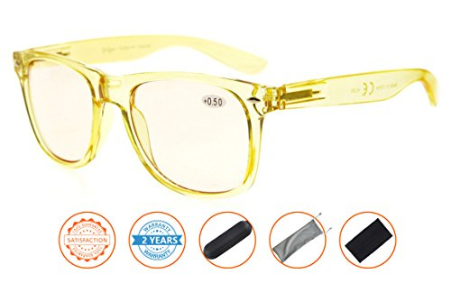 Anti Blue Rays,Reduce Eyestrain,Large Frame Computer Gaming Reading Glasses for Men and Women(Yellow,Amber Tinted Lenses) - Reduce Glasses Computer To Glare