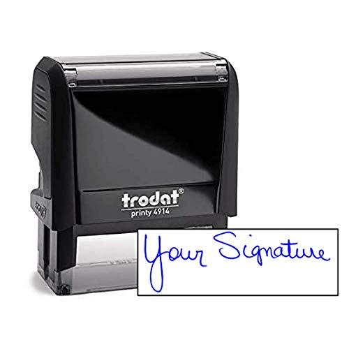 (Custom Signature Stamp - Self Inking Personalized Signature Stamp - Blue Ink)