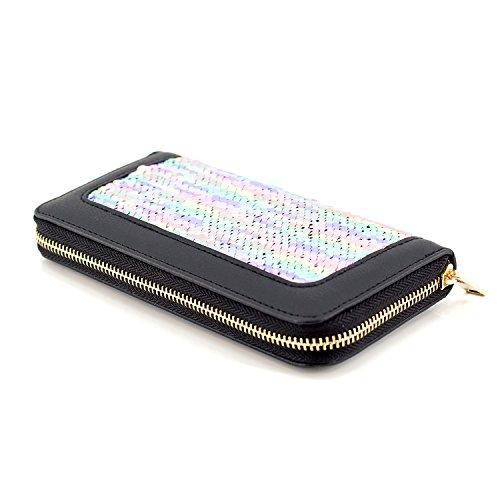 Geldbörse mit Pailletten, Reißverschluss, Damen Portemonnaie, Brieftasche