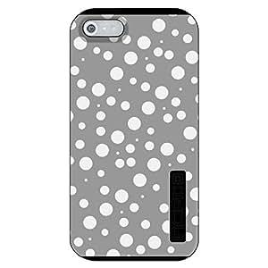 CUSTOM Black Incipio DualPro Case for Apple iPhone 5 / 5S - Silver White Bubbles Polka Dots