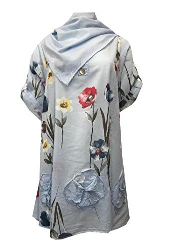 Dye cotone le dimensioni Tie Tunica sciarpa per in Sky Blue con and Modello lino e grandi donne di 0Z4w7x45q