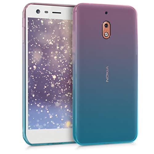 kwmobile TPU Silicone Case for Nokia 2.1 (2018) - Crystal Clear Smartphone Back Case Protective Cover - Dark Pink/Blue/Transparent