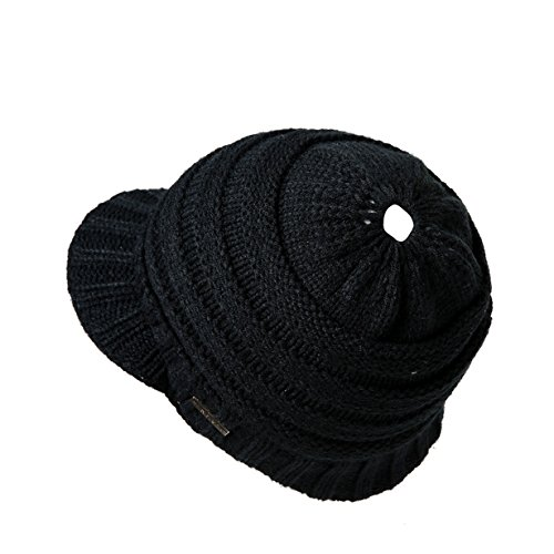 Londony Hats & Caps - Women's Winter Soft Warm Knit Messy High Bun Ponytail Visor Beanie Cap