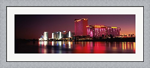 Casinos at the waterfront, Laughlin, Nevada by Panoramic Images Framed Art Print Wall Picture, Flat Silver Frame, 44 x 20 - Images Laughlin Of Nevada