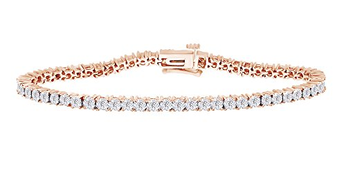 Two Tone Tennis Bracelet In 14k Rose Gold Over Sterling Silver 0.25 CT Round White Natural Diamond 8.5