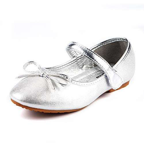 (Nova Utopia Toddler Little Girls Ballet Flat Shoes,NF Utopia Girl NFGF3122 Silver)