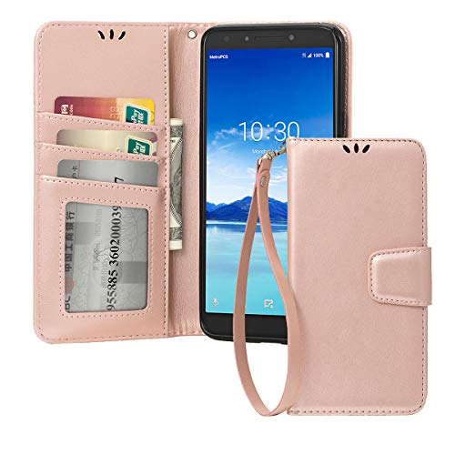 for Alcatel 7/T-Mobile Revvl 2 Plus Phone Case Wallet (Not fit Revvl 2),Shemax Magnetic Flip Wallet Card Slot Bumper for T-Mobile Revvl 2 Plus Kickstand Protective Cover for Alcatel 7-Rose Gold ()