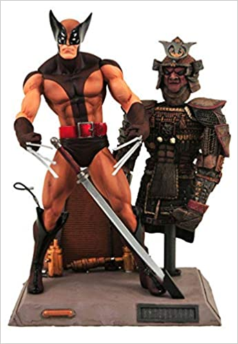 Diamond - Marvel Select, Lobezno con traje marrón, figura de 18 cm y base Samurai (DIADIA88069)
