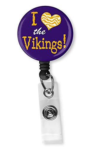 Football Team Inspired Retractable ID Card Badge Holder with Alligator Clip Name Nurse Decorative Badge Reel Clip on Card Holders (I Heart The ()