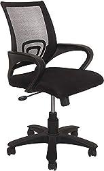 Marc Furniture Plastic Medium Back Office Chair (Black Colour, Square net)