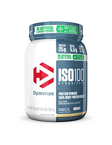 Dymatize ISO 100 Whey Protein Powder with 25g of Hydrolyzed 100% Whey Isolate, Gluten Free, Fast Digesting, Natural Vanilla, 1.6 Pound