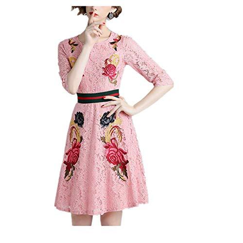Isbxn Vestido de Temperamento Elegante de Encaje Bordado Vintage de Mujer (Color : Pink, Size : S) Pink
