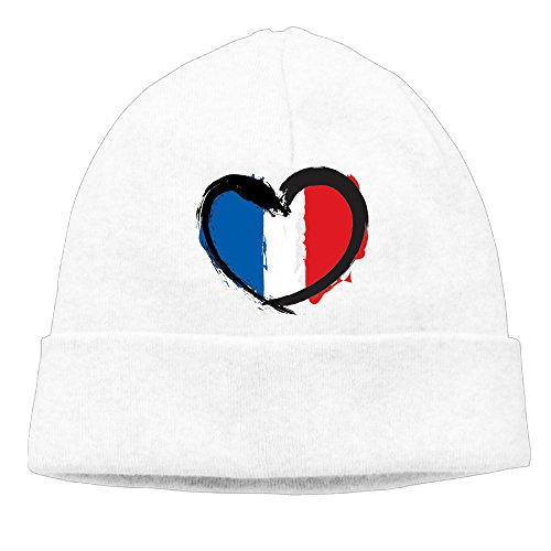 French Revolution Female Costume (Uanjuzn A Cute Y French Flag Heart Men/Women Cool Fashion Hedging Hat Wool Beanies Cap White)