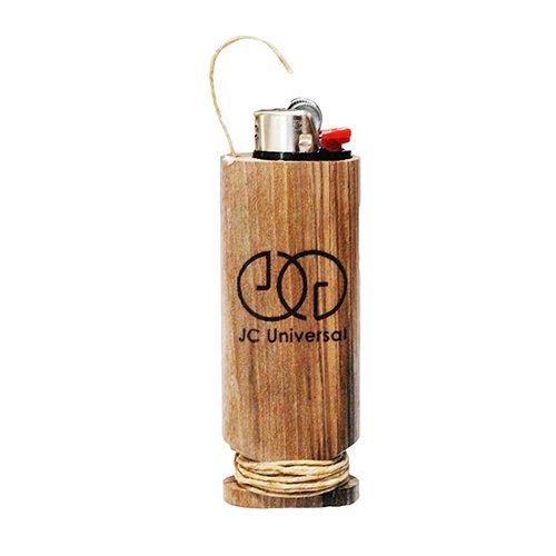 JCUNIVERSAL Walnut Wood Hemp Wick Case Holder Holds Standard Size Lighter (Plain)