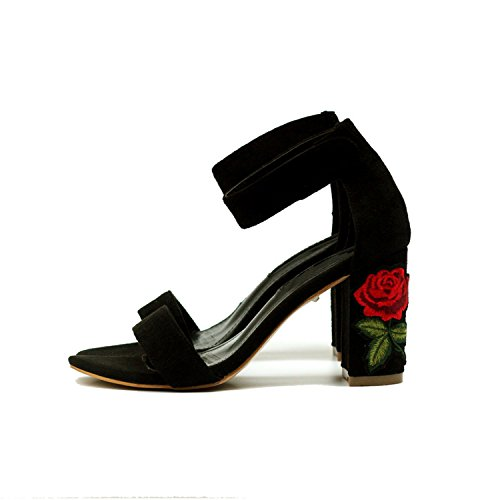 Good-memories Women Sandals High Heels Black Flock Chunky Heel Floral Sandalias Summer Shoes Women,Black,6.5