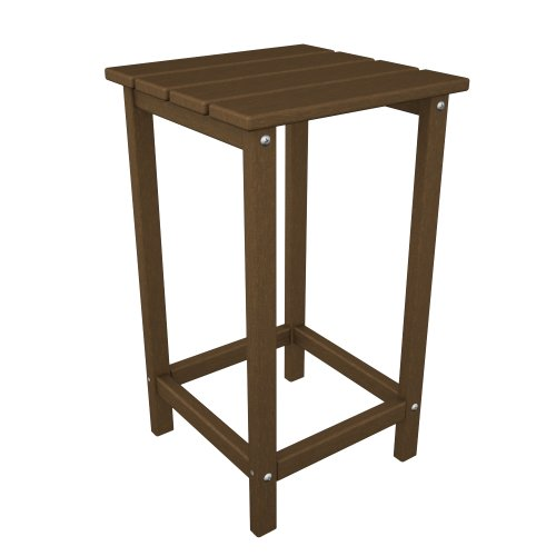 POLYWOOD ECT26TE Long Island 26″ Counter Side Table, Teak