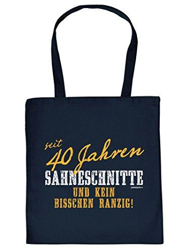 seit 40 Jahren SAHNESCHNITTE ... :Tote Bag Henkeltasche. Beutel mit Aufdruck. Tragetasche, Must-have, Stofftasche